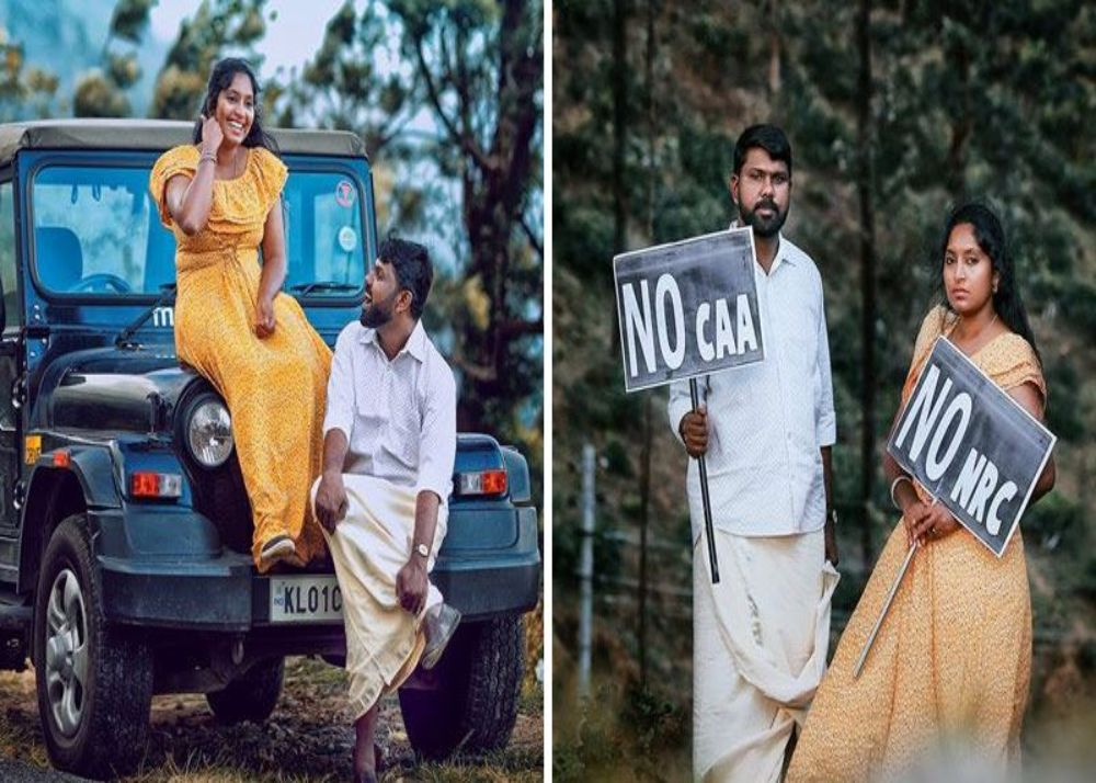 kerala-couple-protests-against-caa-amp-nrc-in-pre-weding