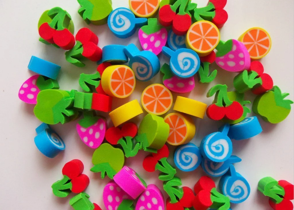 coloured erasers