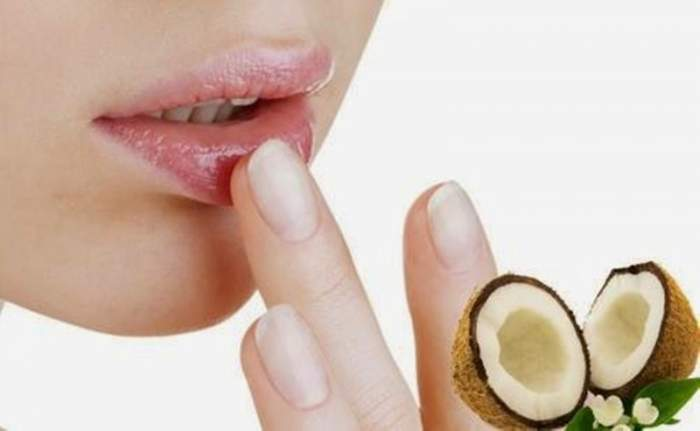 coconut oil on dry lips
